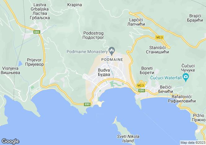 Map for Budva, Adriatic Coast, Montenegro