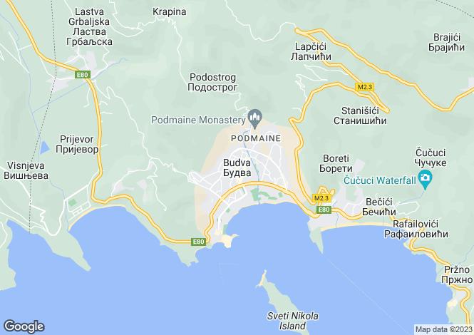Map for Budva, Budva Riviera, Montenegro