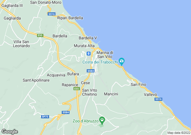 Map for San Vito Chietino, Chieti, Abruzzo