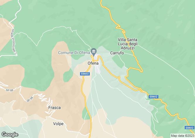 Map for Abruzzo, Laquila, Ofena