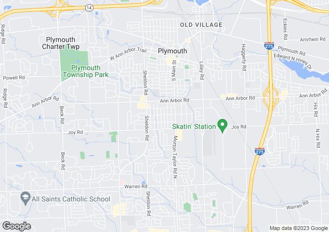 Map for USA - Michigan, Wayne County, Plymouth