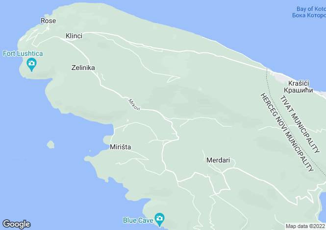 Map for Eraci, Lustica Villa with Stunning Views of the Bay and Open Sea