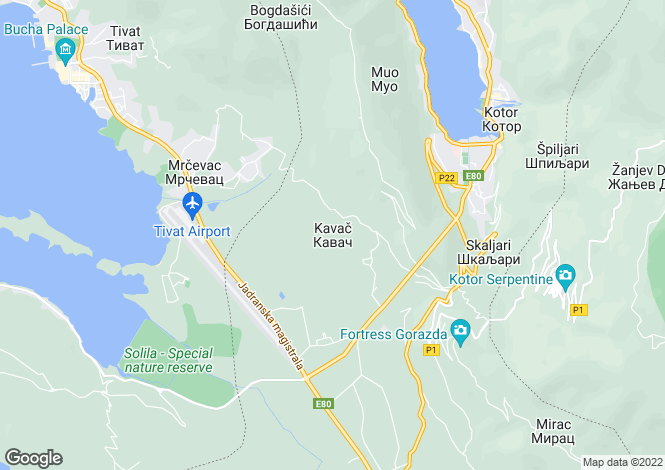 Map for Kavac, Tivat