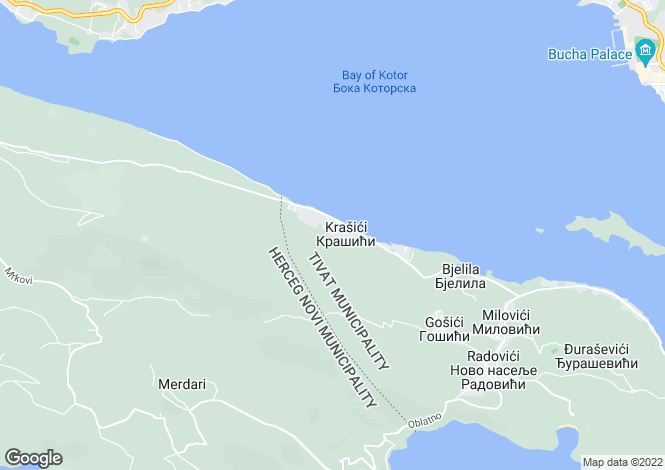 Map for Krasici Villa with commanding views over Tivat Bay and Mountains