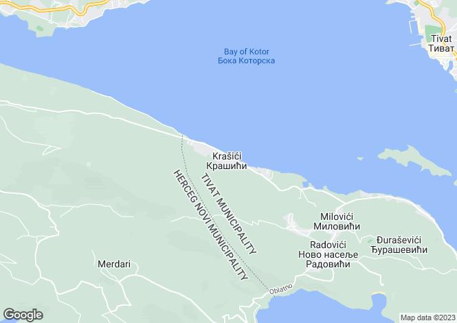 Map for Krasici, Lustica, Montenegro
