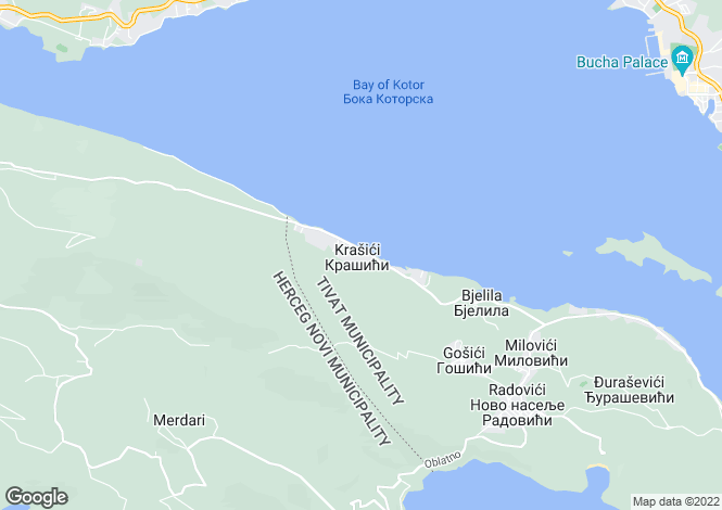 Map for Krasici, Kotor Bay, Montenegro