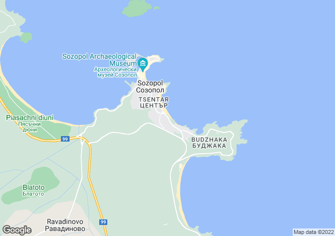 Map for Sozopol, Burgas