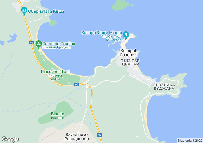 Map for Burgas, Sozopol
