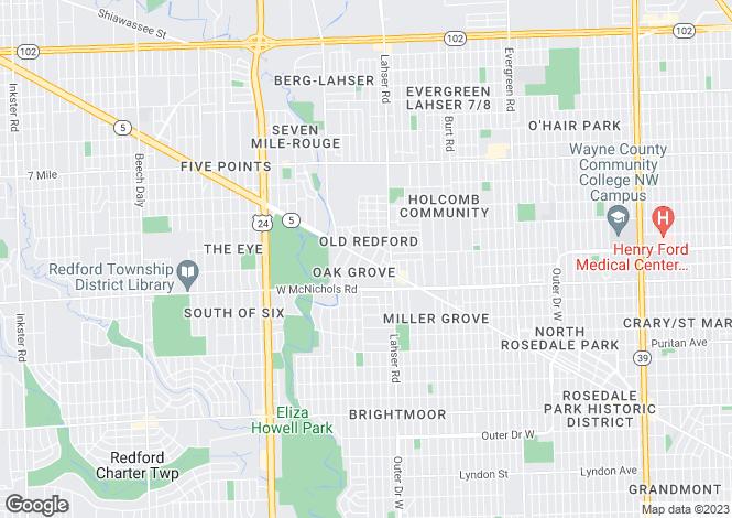 Map for USA - Michigan, Wayne County, Detroit