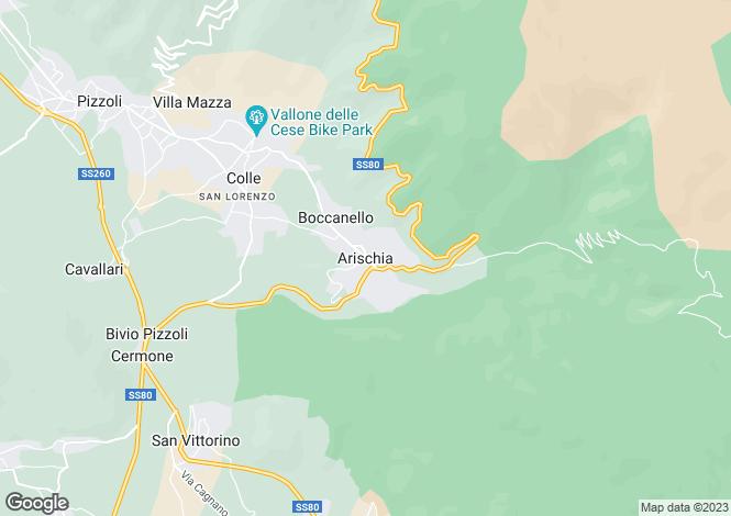 Map for Abruzzo, Laquila, Arischia