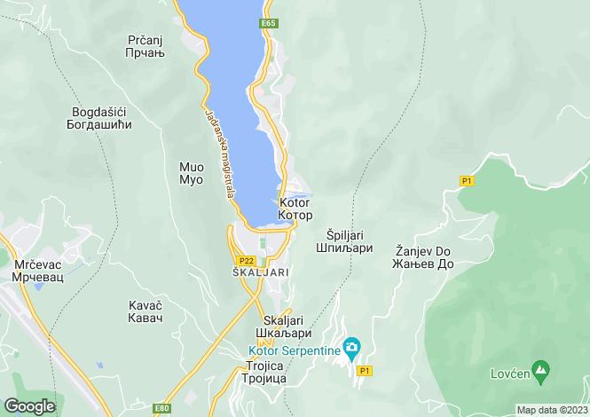 Map for Kotor Old Town, Kotor Bay, Montenegro