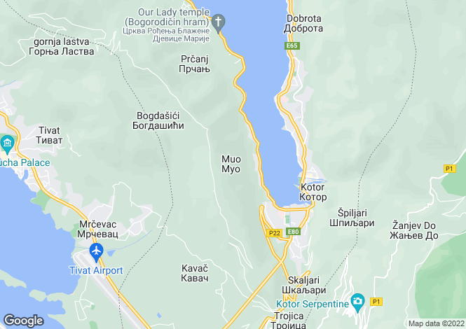 Map for Villa Nero, Muo, Kotor Bay