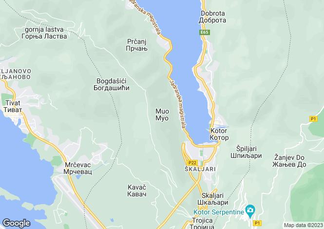 Map for Muo, Kotor Bay, Montenegro