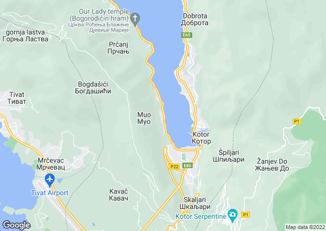 Map for First Line Of The Sea, Muo, Kotor Bay, Montenegro