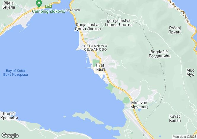 Map for Seljanovo, Near Tivat, Montenegro