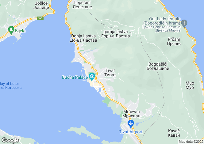Map for Mazina, Tivat, Montenegro