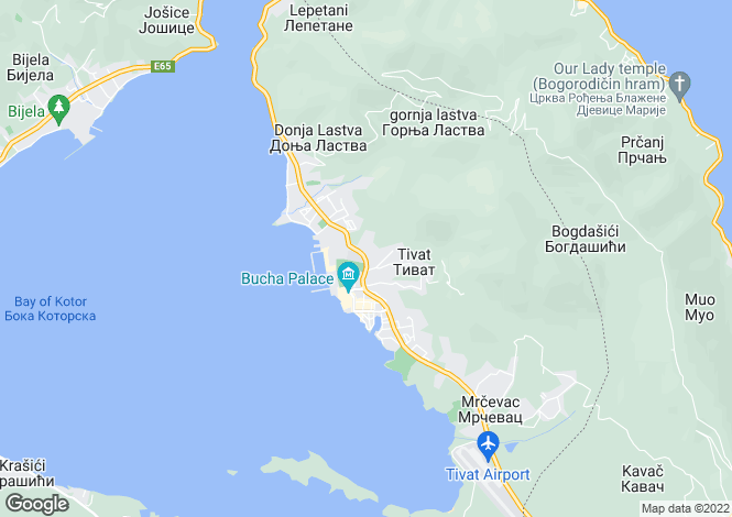 Map for Tivat, Bay Of Kotor, Montenegro