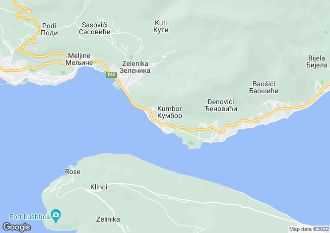 Map for Kumbor, Kotor Bay, Montenegro