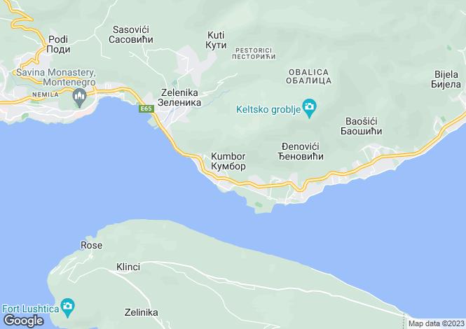 Map for Kumbor, Herceg Novi, Kotor Bay, Montenegro