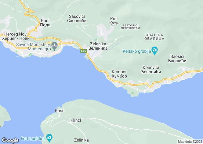 Map for Kumbor, Montenegro