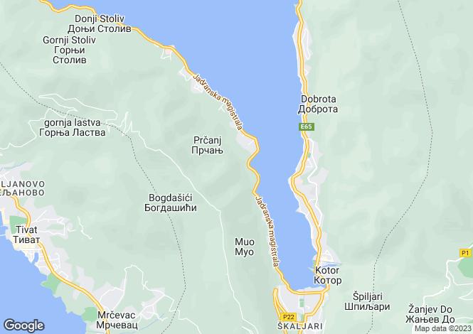 Map for Prcanj, Kotor Bay, Montenegro