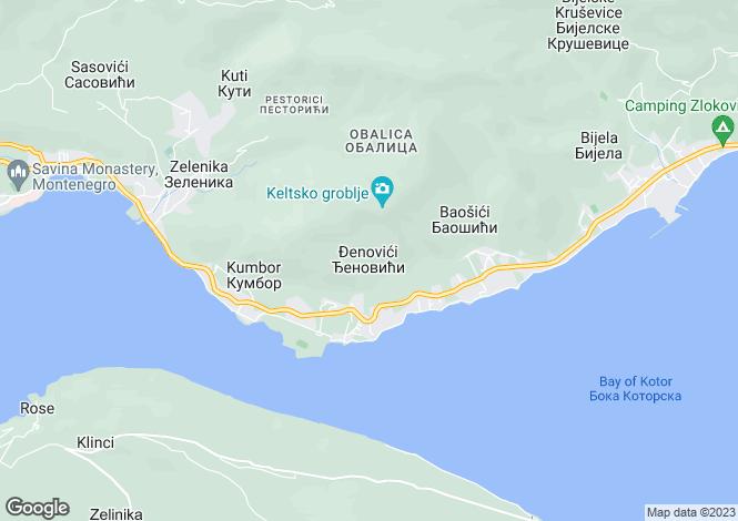 Map for Djenovici, Kotor Bay, Montenegro