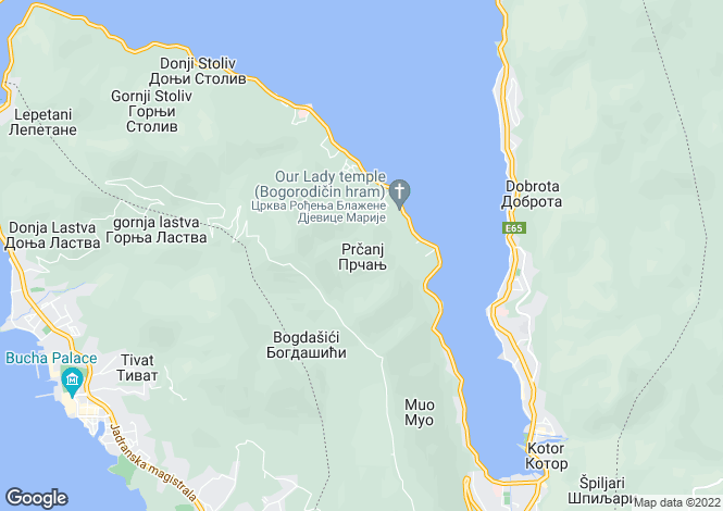 Map for Prcanj, Kotor Bay, Montenegro