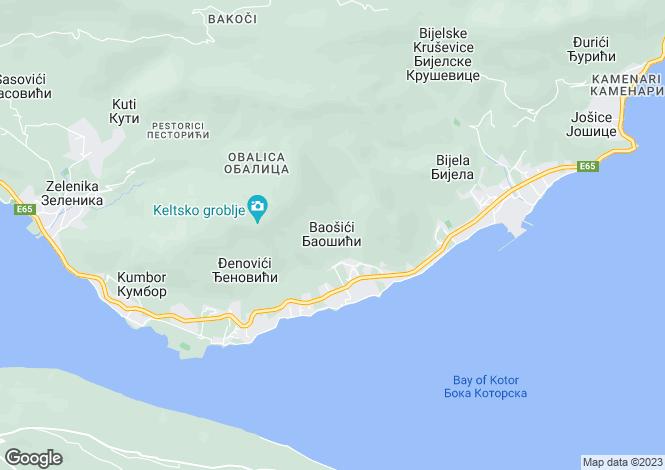 Map for Baosici, Kotor Bay, Montenegro