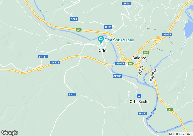Map for Lazio, Viterbo, Orte