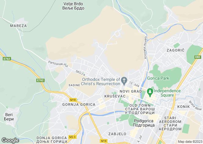 Map for Podgorica
