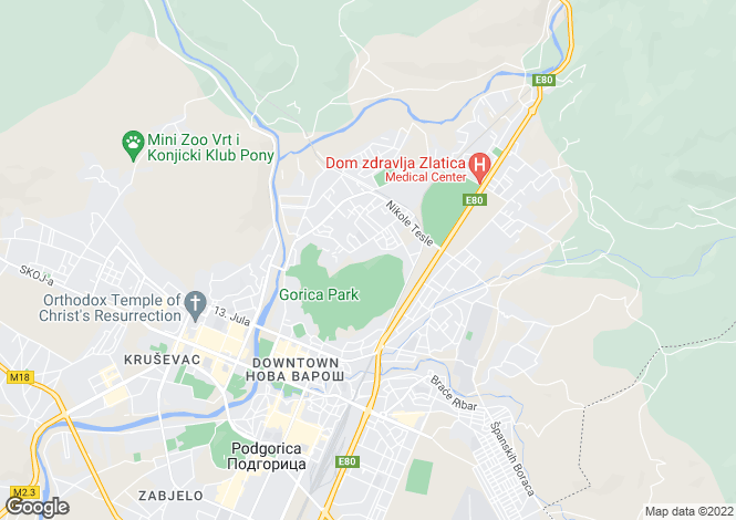 Map for Podgorica