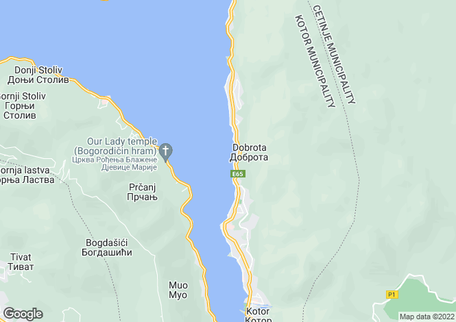 Map for Dobrota, Kotor Bay, Montenegro