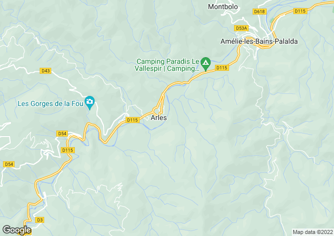 Map for Arles Sur Tech, Pyrenees-Orientales, 66150, France