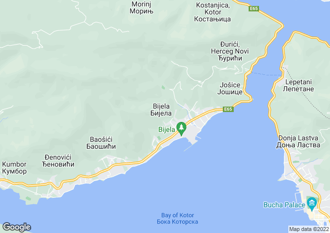Map for Bijela, Herceg Novi, Kotor Bay, Montenegro