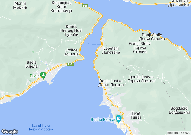 Map for Opatovo, Tivat, Montenegro
