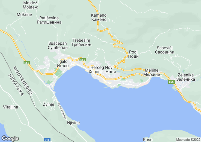 Map for Herceg Novi, Kotor Bay, Montenegro