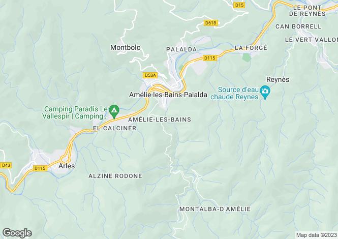 Map for Secteur: Amelie-les-Bains-Palalda, Pyrenees-Orientales