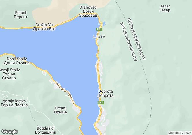 Map for Dobrota, Kotor Bay, Montenegro