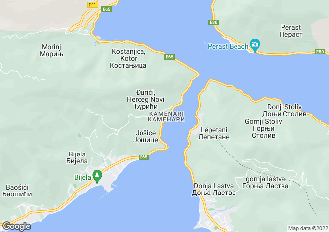 Map for Kamenari, Kotor Bay, Montenegro