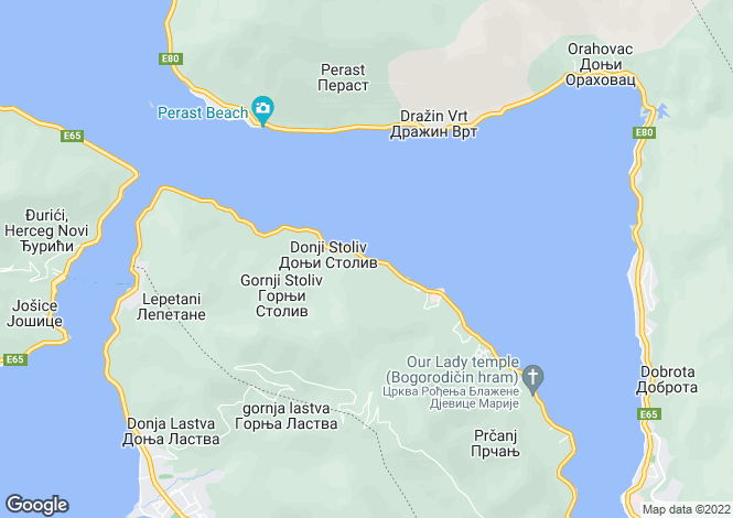 Map for Stoliv, Kotor Bay, Montenegro