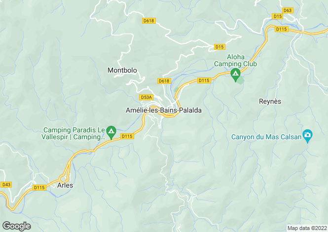 Map for Secteur: Amelie-les-Bains-Palalda, Pyrenees Orientales