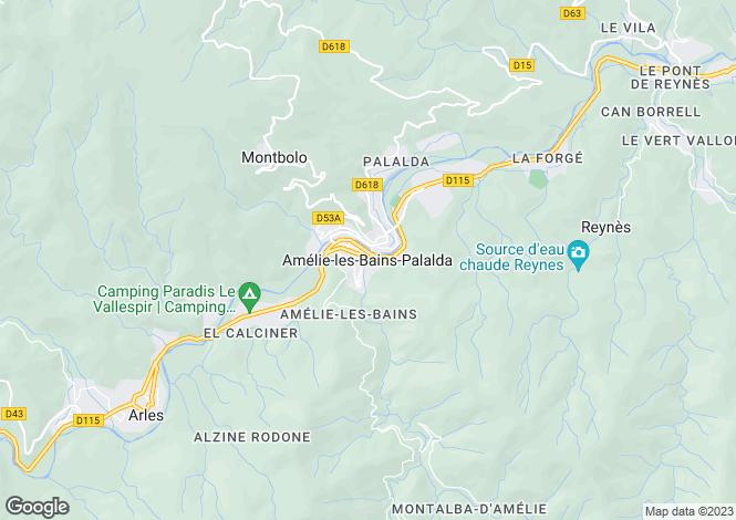 Map for Amelie-Les-Bains-Palalda, Languedoc-Roussillon, 66110, France