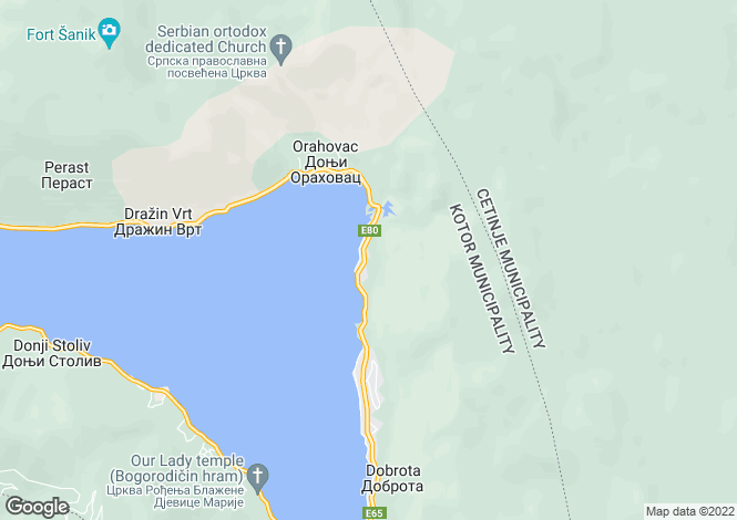 Map for Ljuta, Kotor Bay, Montenegro