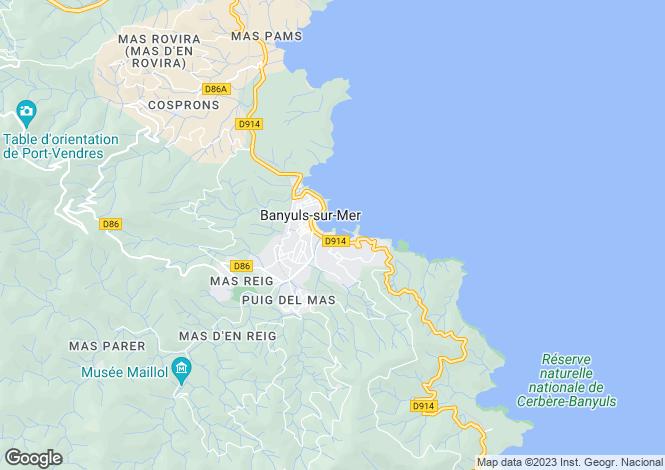 Map for Banyuls-sur-Mer, Pyrénées-Orientales, Languedoc-Roussillon
