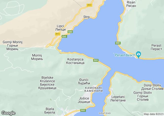Map for Boka Gardens, Kostanjica, Kotor Bay
