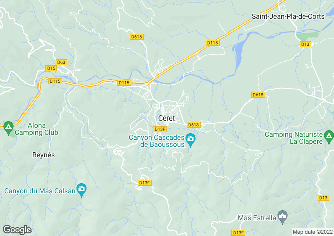 Map for Ceret, Languedoc-Roussillon, 66400, France