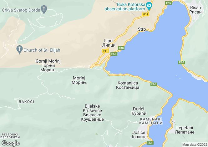 Map for Morinj, Montenegro
