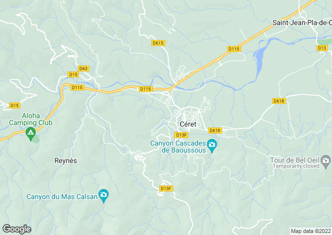Map for Ceret, Pyrenees-Orientales, 66400, France
