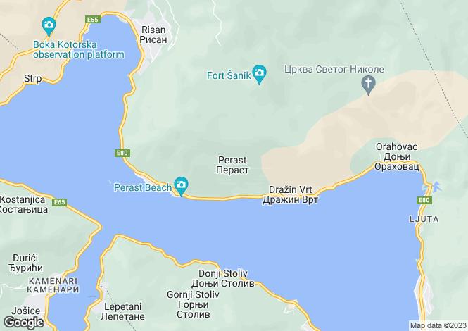 Map for Perast, Kotor Bay, Montenegro