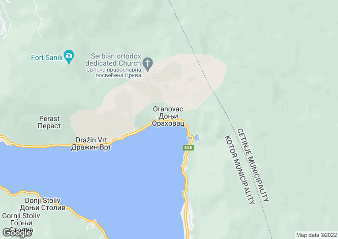 Map for Orahovac, Kotor Bay, Montenegro